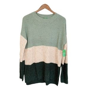 NWT DIP Soft Touch Women's Color Block Sweater L